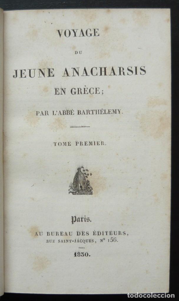 Libros antiguos: 1830 - Viaje del Joven Anacarsis a Grecia - Mundo Antiguo - Obra Completa en 8 tomos del Siglo XIX - Foto 5 - 183040208