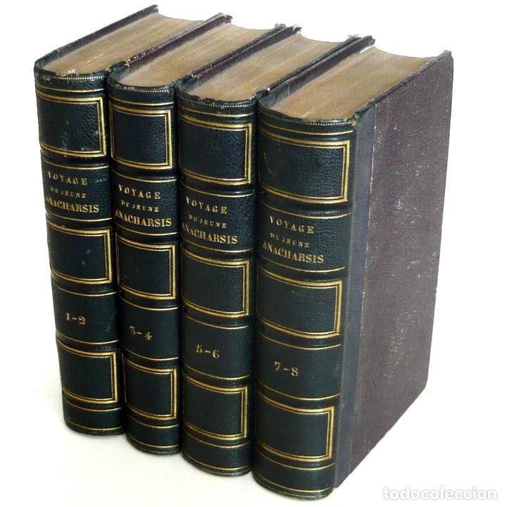 1830 - VIAJE DEL JOVEN ANACARSIS A GRECIA - MUNDO ANTIGUO - OBRA COMPLETA EN 8 TOMOS DEL SIGLO XIX (Libros Antiguos, Raros y Curiosos - Geografía y Viajes)