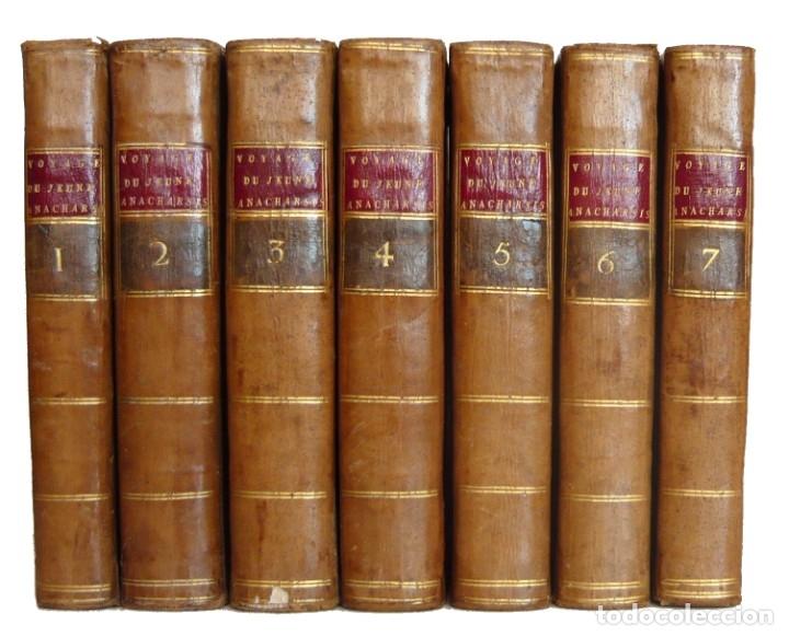 Libros antiguos: 1790 - Viaje del Joven Anacarsis a Grecia - 7 Tomos del Siglo XVIII, Completo, Piel - Grecia Antigua - Foto 13 - 183040830