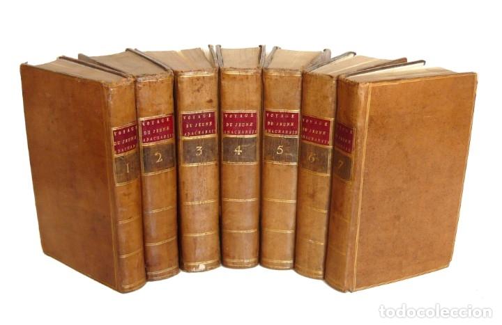1790 - VIAJE DEL JOVEN ANACARSIS A GRECIA - 7 TOMOS DEL SIGLO XVIII, COMPLETO, PIEL - GRECIA ANTIGUA (Libros Antiguos, Raros y Curiosos - Geografía y Viajes)
