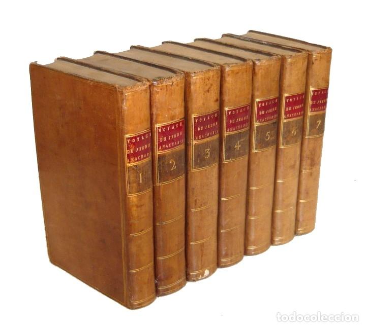 Libros antiguos: 1790 - Viaje del Joven Anacarsis a Grecia - 7 Tomos del Siglo XVIII, Completo, Piel - Grecia Antigua - Foto 3 - 183040830