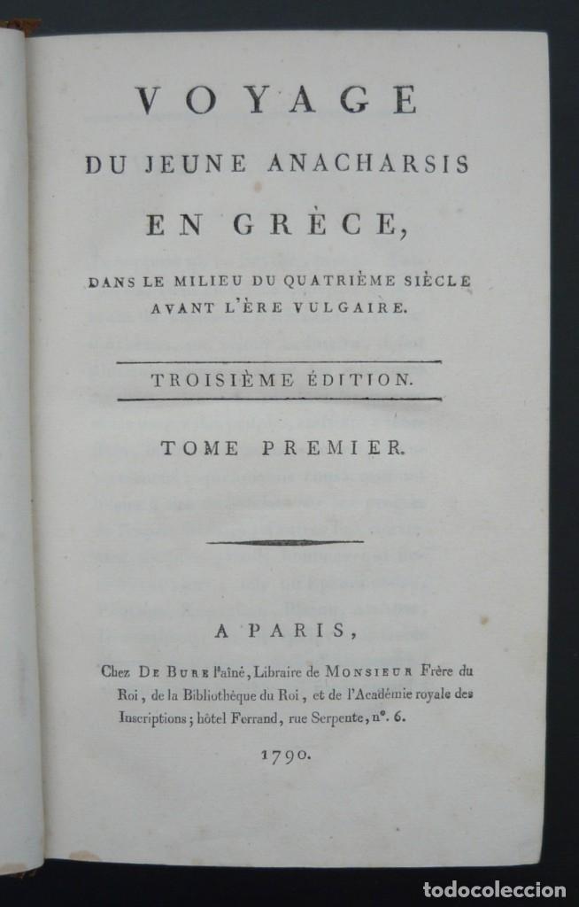 Libros antiguos: 1790 - Viaje del Joven Anacarsis a Grecia - 7 Tomos del Siglo XVIII, Completo, Piel - Grecia Antigua - Foto 5 - 183040830