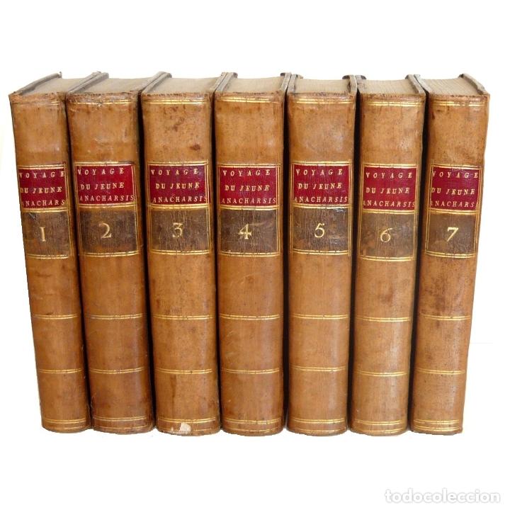 Libros antiguos: 1790 - Viaje del Joven Anacarsis a Grecia - 7 Tomos del Siglo XVIII, Completo, Piel - Grecia Antigua - Foto 2 - 183040830