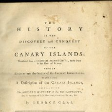 Libros antiguos: THE HISTORY OF THE DISCOVERY AND CONQUEST OF THE CANARY ISLANDS GEORGE GLAS 1764 PERGAMINO CANARIAS. Lote 183178111
