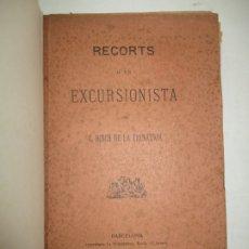 Libros antiguos: RECORTS D'UN EXCURSIONISTA. BOSCH DE LA TRINXERIA, C. 1887. PRIMERA EDICIÓ.. Lote 183365846