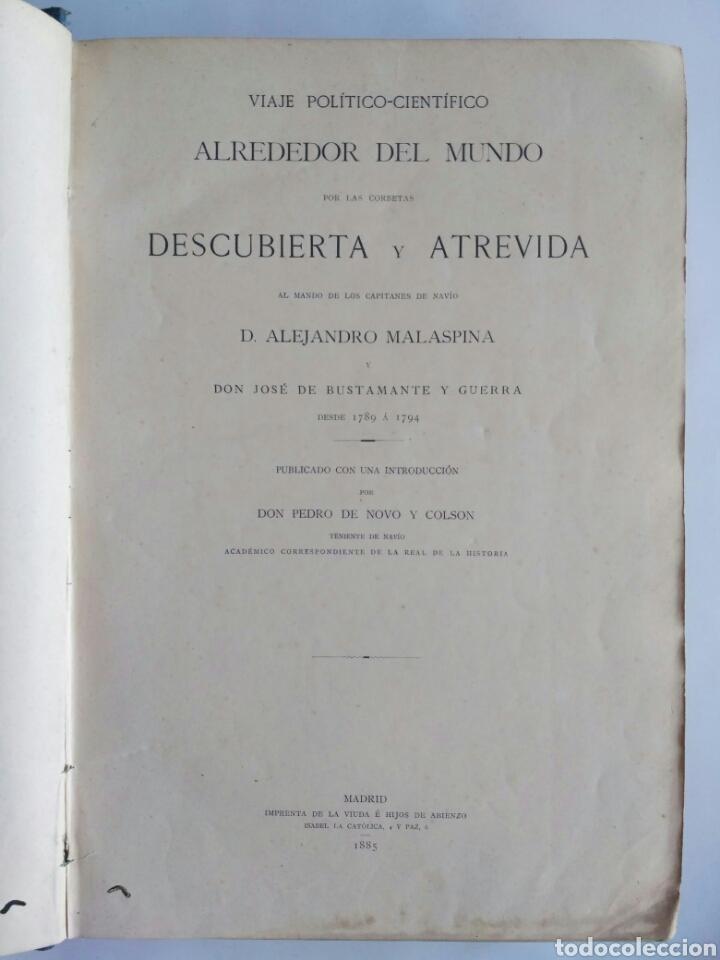 Libros antiguos: Viajes de las Corbetas Descubierta y Atrevida. Expedición Malaspina. Madrid, 1885. Primera edición. - Foto 7 - 183740995