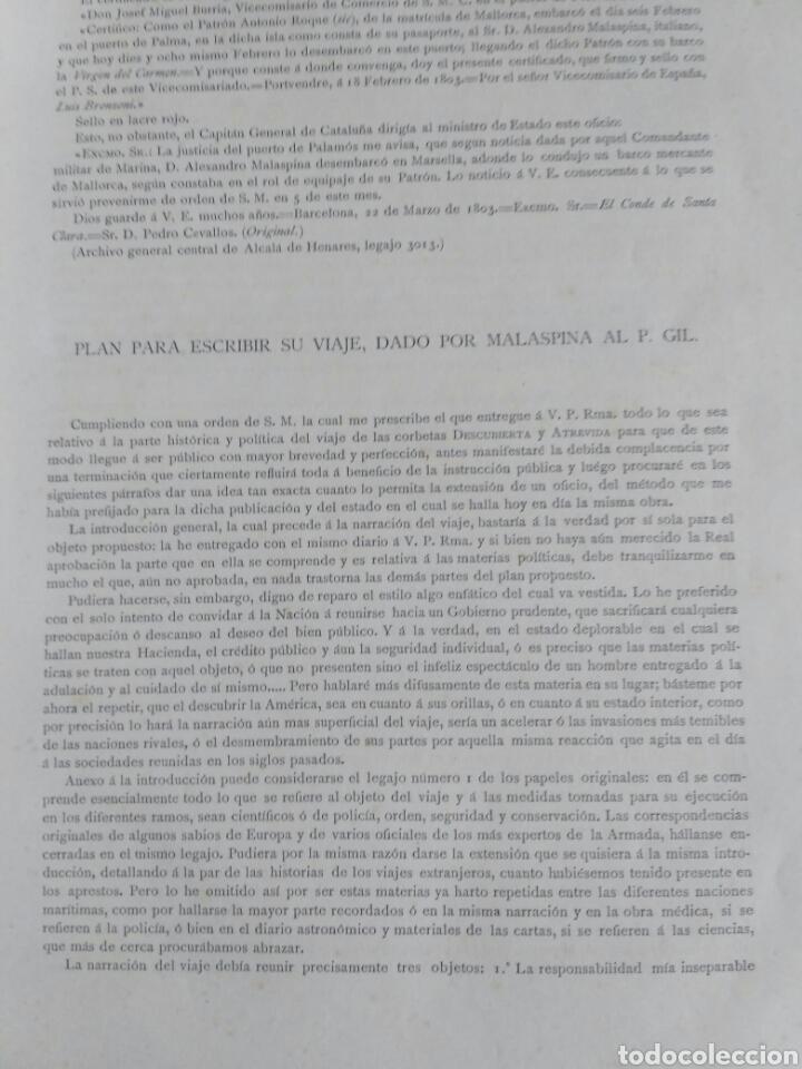 Libros antiguos: Viajes de las Corbetas Descubierta y Atrevida. Expedición Malaspina. Madrid, 1885. Primera edición. - Foto 17 - 183740995