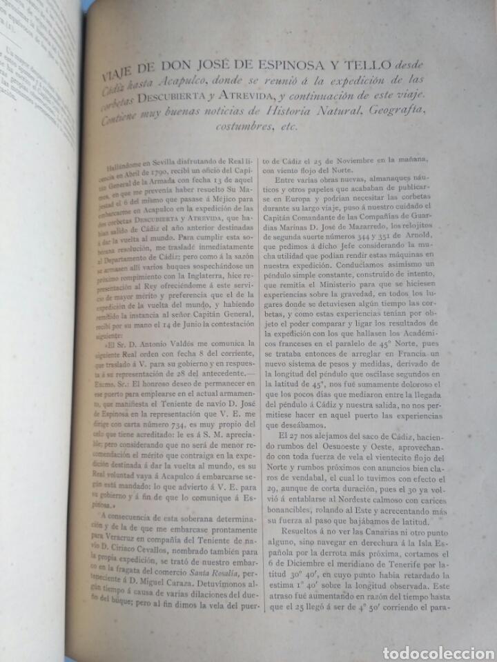 Libros antiguos: Viajes de las Corbetas Descubierta y Atrevida. Expedición Malaspina. Madrid, 1885. Primera edición. - Foto 40 - 183740995