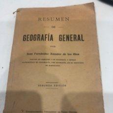 Libros antiguos: RESUMEN DE GEOGRAFÍA GENERAL. Lote 188496918