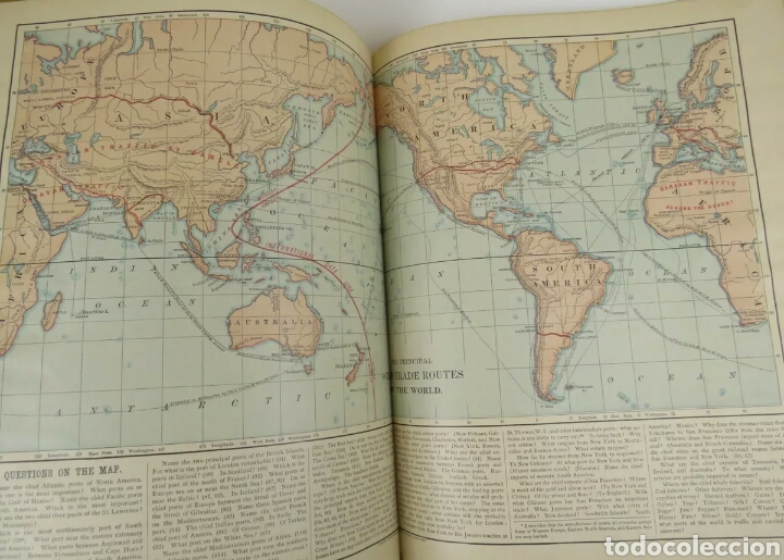 Libros antiguos: Libro muy antiguo de geografía con mapas año 1885 en inglés rareza RARO - Foto 7 - 189185765