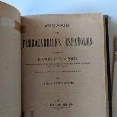 Libros antiguos: 1900 ANUARIO DE LOS FERROCARRILES ESPAÑOLES ENRIQUE DE LA TORRE CON GRAN MAPA DESPLEGABLE. Lote 189257253
