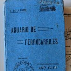 Libros antiguos: 1924 ANUARIO DE LOS FERROCARRILES ESPAÑOLES ENRIQUE DE LA TORRE CON GRAN MAPA DESPLEGABLE. Lote 189258073