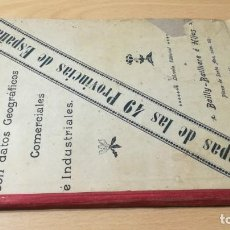 Libros antiguos: ANTIGUO ATLAS, MAPAS DE LAS 49 PROVINCIAS, BAILLY - BAILLIERE, MADRID 1904. Lote 189888938