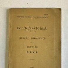Libros antiguos: MAPA GEOLÓGICO DE ESPAÑA. MEMORIA EXPLICATIVA. HOJA N.º 448. GAVA.. Lote 191877821