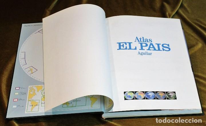 Libros antiguos: Atlas el País Aguilar, 1991, 25 x 34 x 3 cm, encuadernación símil piel - Foto 6 - 193369235