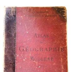 Libros antiguos: ATLAS GEOPRAPHIE MODERNE 1895 SCHRADER PRUDENT ANTHOINE HACHETTE 38CM MAPAS EN FRANCÉS MAPAS A COLOR. Lote 194684028