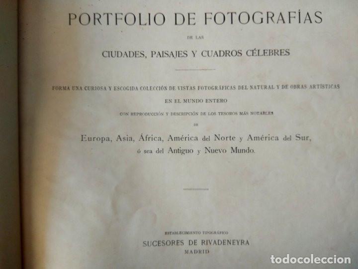 Libros antiguos: Portfolio de fotografías de las ciudades, paisajes y cuadros célebres - Año 1896 - Foto 2 - 195084135