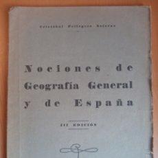 Libros antiguos: NOCIONES DE GEOGRAFÍA GENERAL Y DE ESPAÑA C. PELLEGERO 1936. Lote 199511113