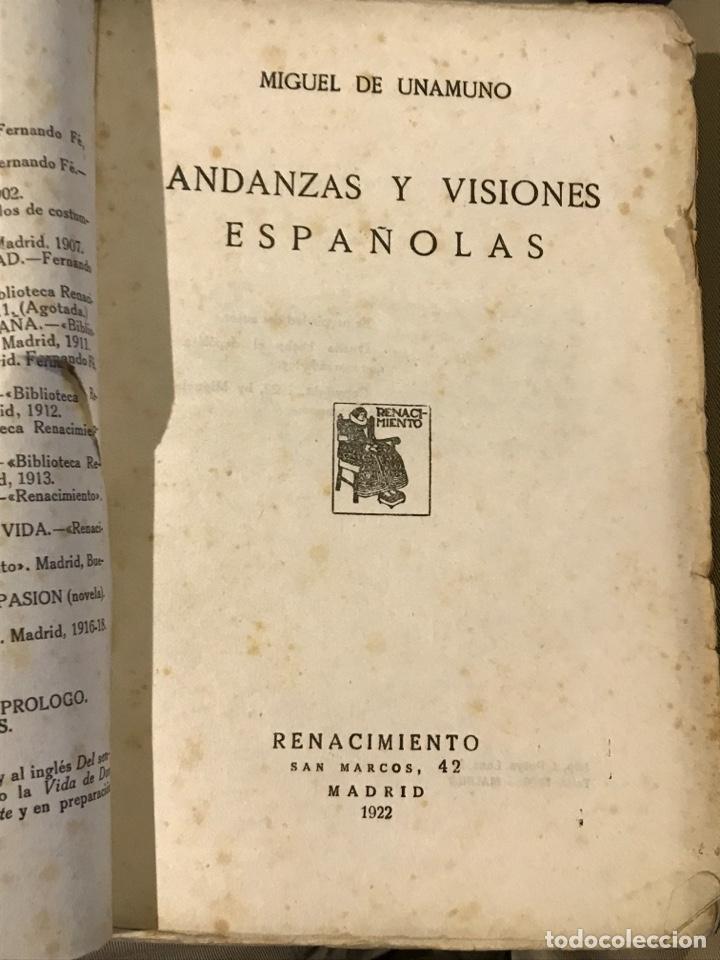 Libros antiguos: Andanzas y visiones españolas por Miguel de Unamuno 1922 - Foto 2 - 201288326