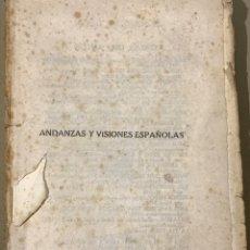 Libros antiguos: ANDANZAS Y VISIONES ESPAÑOLAS POR MIGUEL DE UNAMUNO 1922. Lote 201288326