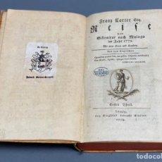 Libros antiguos: FRANZ CARTER - REISE VON GIBRALTAR NACH MALAGA IN JAHR 1772 - LEIPZIG 1779. Lote 202368522