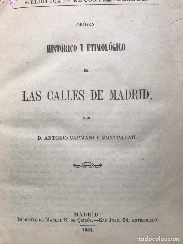ORIGEN HISTÓRICO Y ETIMOLÓGICO DE LAS CALLES DE MADRID - D. ANTONIO CAPMANI Y MONTPALAU - 1863 (Libros Antiguos, Raros y Curiosos - Geografía y Viajes)
