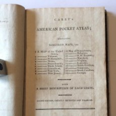 Libros antiguos: CAREY'S AMERICAN POCKET ATLAS; CONTAINING TWENTY MAPS, ETC. SECOND EDITION, 1801-RARÍSIMO. Lote 205549958