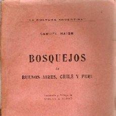 Libros antiguos: HAIGH, SAMUEL - BOSQUEJOS DE BUENOS AIRES, CHILE Y PERÚ. Lote 207119570