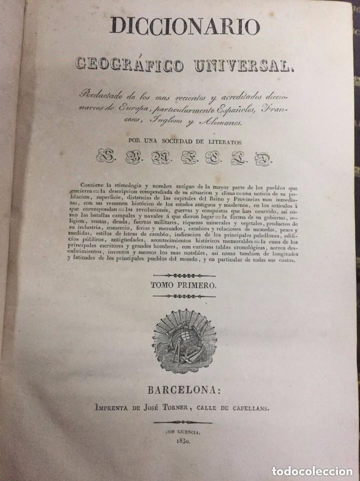 DICCINARIO GEOGRAFICO UNIVERSAL. BARCELONA. JOSE TORNER. 1830-34. (Libros Antiguos, Raros y Curiosos - Geografía y Viajes)