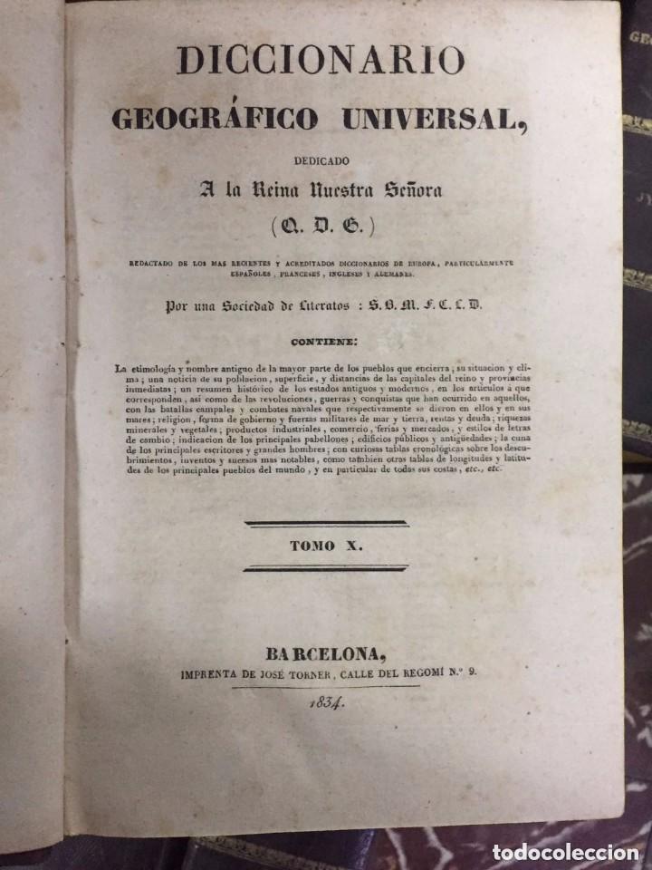 Libros antiguos: Diccinario Geografico Universal. Barcelona. Jose Torner. 1830-34. - Foto 2 - 209236957
