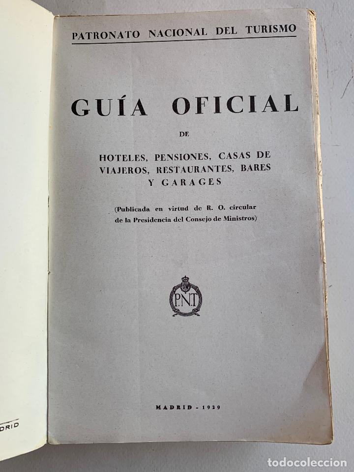 GUIA OFICIAL DE HOTELES , PENSIONES , CASAS DE VIAJEROS , RESTAURANTES , BARES Y GARAGES . 1929 . (Libros Antiguos, Raros y Curiosos - Geografía y Viajes)