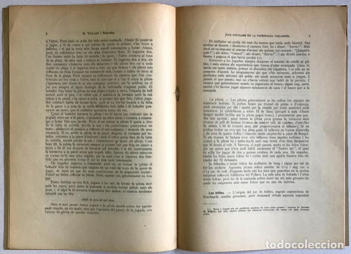 Libros antiguos: JOCS POPULARS DE LA FADRINALLA PALLARESA. - VIOLANT I SIMORRA, R. - Foto 3 - 123259984
