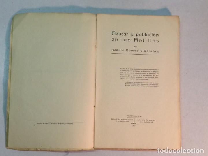Libros antiguos: Ramiro Guerra y Sánchez: Azúcar y Población en las Antillas (1927) - Foto 3 - 217958473