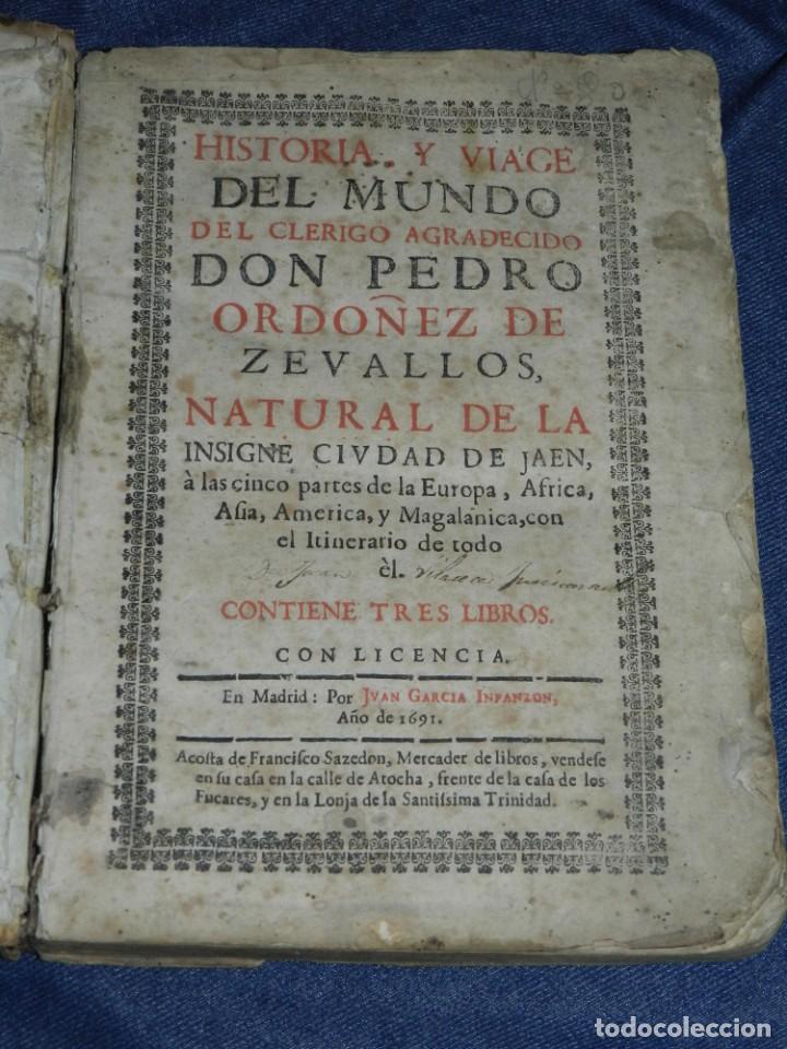 (MF) PEDRO ORDOÑEZ DE CEBALLOS - HISTORIA Y VIAGE DEL MUNDO DEL CLERIGO, CIUDAD JAEN, FILIPINAS 1691 (Libros Antiguos, Raros y Curiosos - Geografía y Viajes)