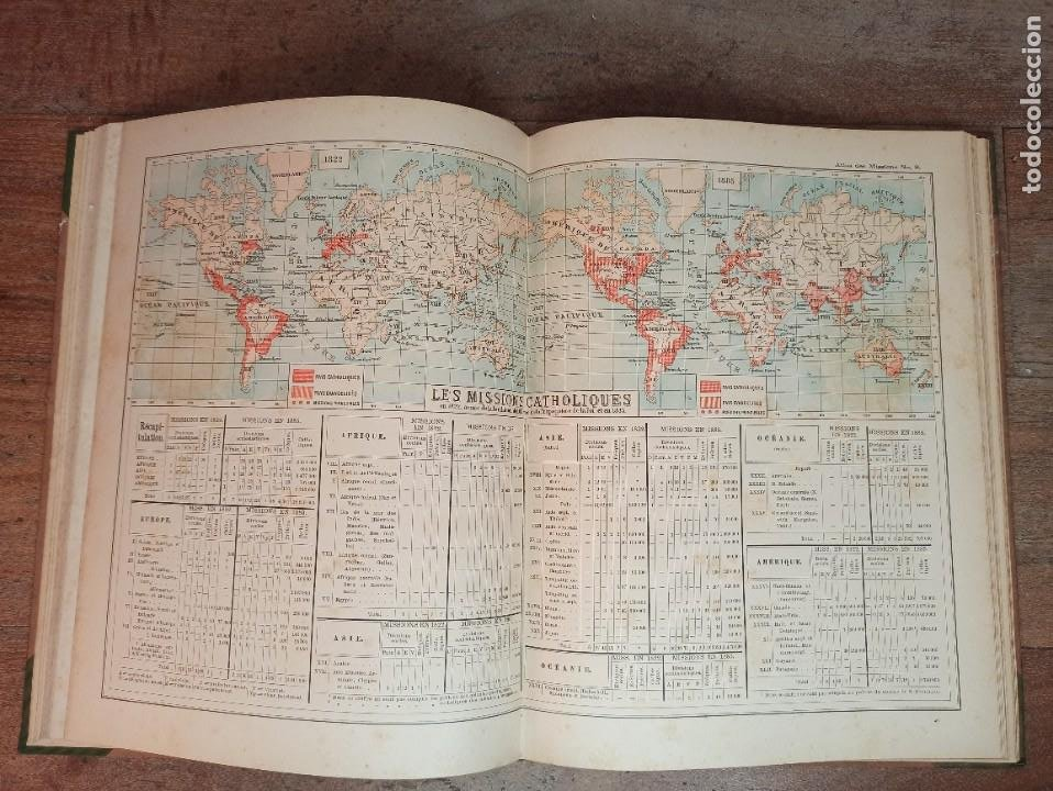 Libros antiguos: ESPLÉNDIDO ATLAS MISIONES CATÓLICAS, WERNER, LYON, 1886, 20 MAPAS Y TABLAS INGENTE INFORMACIÓN - Foto 20 - 220966268