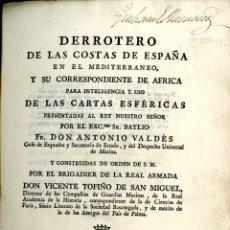 Libros antiguos: TOFIÑO DE SAN MIGUEL, VICENTE. DERROTERO DE LAS COSTAS DE ESPAÑA EN EL MEDITERRANEO. 1787. Lote 222571425