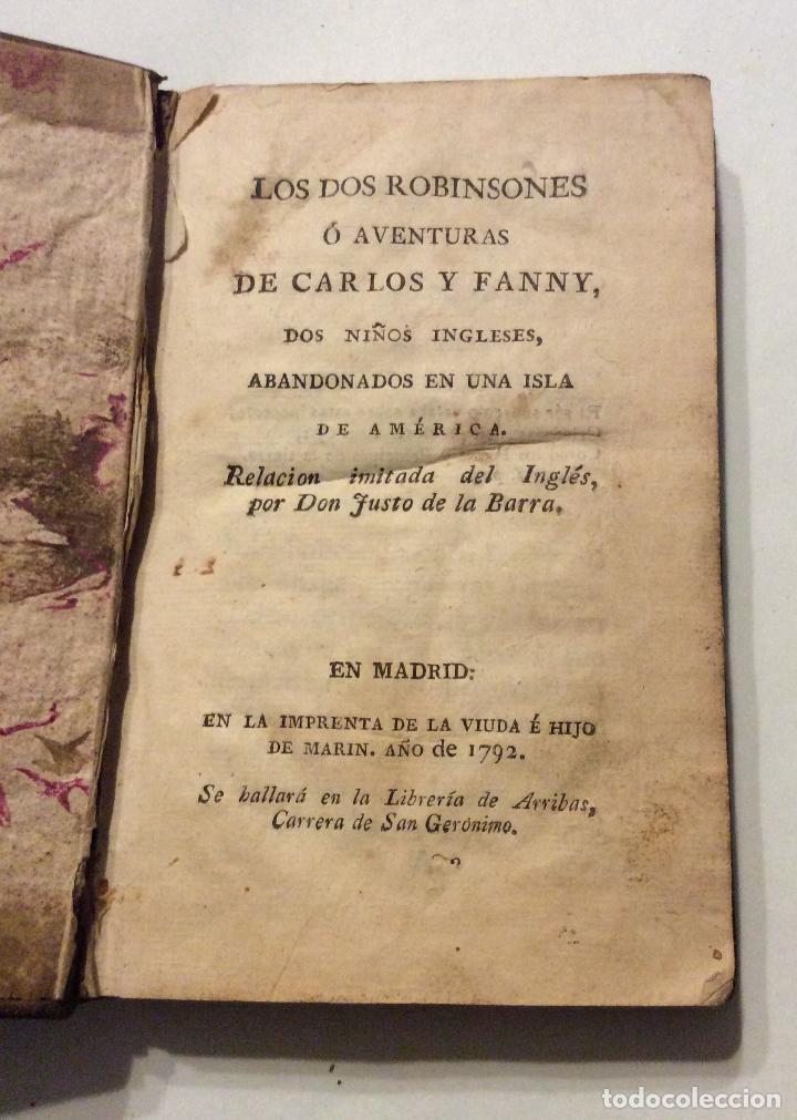 Libros antiguos: LOS DOS ROBINSONES O AVENTURAS DE CARLO Y FANNY,Tomo I,1792 - Foto 2 - 223993105