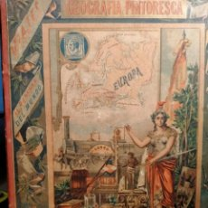 Libros antiguos: GEOGRAFIA PINTORESCA VIAJES ALREDEDOR DEL MUNDO - 1890 - S XIX - ILUSTRACIONES EUROPA ANTIGÜA. Lote 227921105