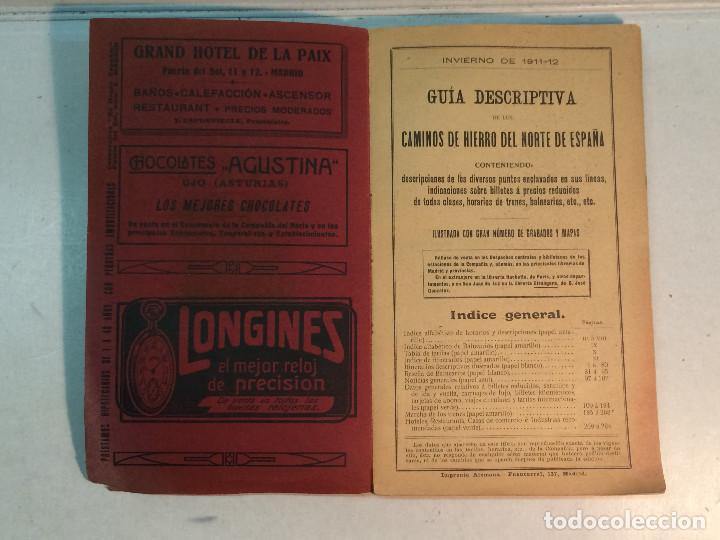 Libros antiguos: Compañía de los caminos de hierro del Norte de España. Invierno de 1911-12 - Foto 3 - 227988485