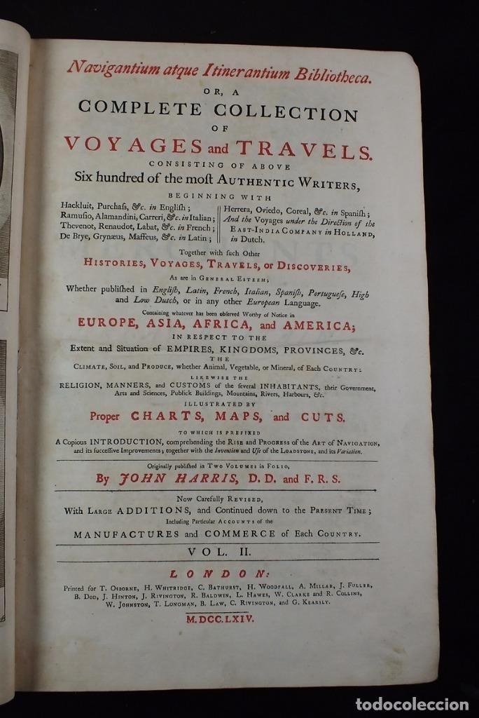 Libros antiguos: Navigantium atque Itinerantium Bibliotheca..., tomo 2, 1764. John Harris. Grandes grabados - Foto 3 - 234741610