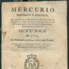 Libros antiguos: MERCURIO HISTÓRICO Y POLITICO. OCTUBRE DE 1776.. Lote 239773495