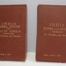 Libros antiguos: THOMAS COOK. INDIA. BURMA, CEYLON AND SOUTH AFRICA, 1903. BURMA AND CEYLON, 1911. 15,5 X 10 CM. Lote 244731065