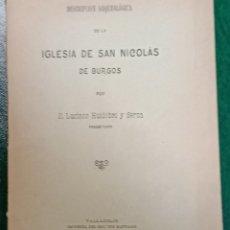 Libros antiguos: DESCRIPCIÓN ARQUEOLÓGICO DE LA IGLESIA DE SAN NICOLÁS DE BURGOS. Lote 262700450
