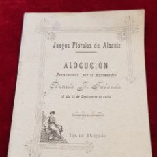 Livres anciens: PEQUEÑO LIBRITO JUEGOS FLORALES DE ALCAÑIZ ALOCUCIÓN DE EDUARDO J TABOADA SEPTIEMBRE DE 1900 TERUEL. Lote 269387138