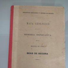Libros antiguos: ANTIGUO MAPA GEOLÓGICO DE ESPAÑA BEAS DE SEGURA 1929 N° 886. Lote 276251443