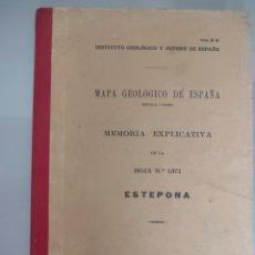 Libros antiguos: ANTIGUO MAPA GEOLÓGICO DE ESPAÑA ESTEPONA MALAGA 1934 N°1072 MAPAS. Lote 276257323