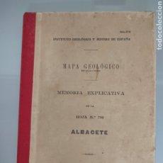 Libros antiguos: ANTIGUO MAPA GEOLÓGICO DE ESPAÑA ALBACETE 1931 N°790 MAPAS. Lote 276262018