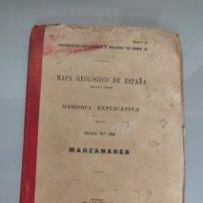 Libros antiguos: ANTIGUO MAPA GEOLÓGICO DE ESPAÑA MANZANARES CIUDAD REAL 1935 N°786 MAPAS. Lote 276909558