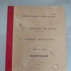 Libros antiguos: ANTIGUO MAPA GEOLÓGICO DE ESPAÑA MONTIZØN JAEN 1933 N°786 MAPAS. Lote 276911713