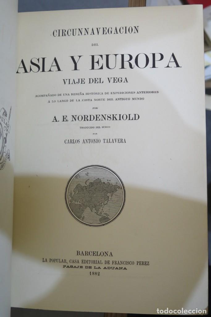 Libros antiguos: 1882.- CIRCUNNAVEGACION DEL ASIA Y EUROPA, VIAJE DEL VEGA. NORDENSKIOLD - Foto 2 - 277079068